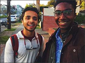 Andrew Brennen, at Berkeley University with fellow Coca-Cola scholar Akbar Khan, left.
